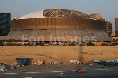 Exposed roof of Superdome in New Orleans after Hurricane Katrina