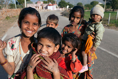 Children in a rural village near Foy Sagar, near Ajmer, Rajasthan, India