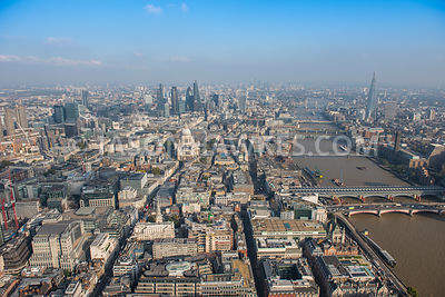 Aerial view of London, River Thames with Blackfriars Bridges towards City of London.