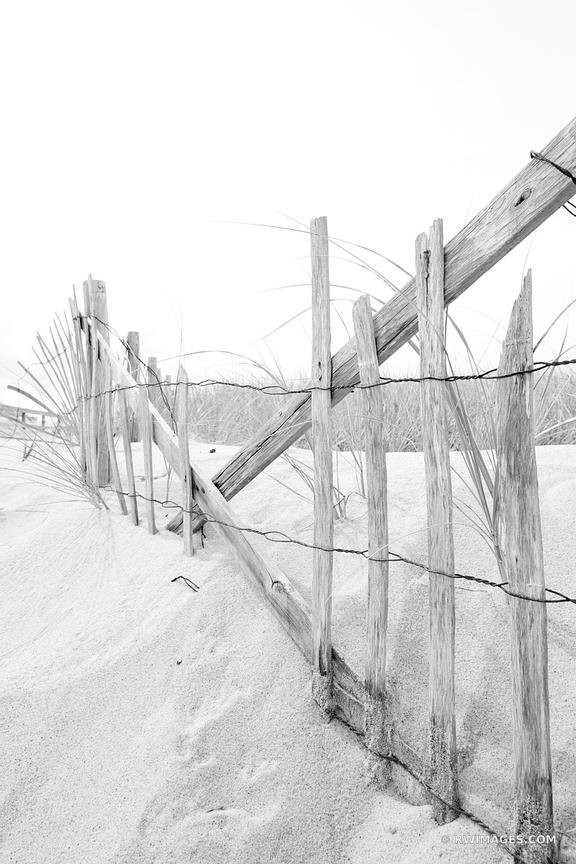 OLD WOODEN FENCE RACE POINT BEACH CAPE COD PROVINCETOWN MA BLACK AND WHITE VERTICAL