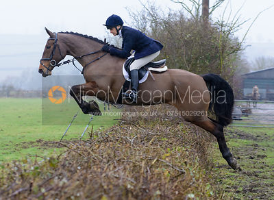 Fiona Gibson jumping a hedge at Town Park Farm