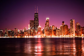 Chicago Skyline at Night with Violet Sky
