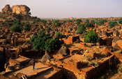 view of the flat rooftops and granaries, Songo, Dogon Country, Mali