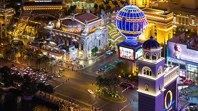 Bird's Eye: Close Up Of Las Vegas Blvd. & Paris Blvd. At Night