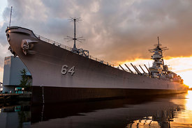 Battleship Wisconsin Sunset