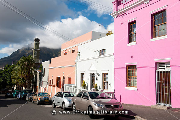 Painted Cape Malay houses and Auwal mosque, Dorp Street, Bo-Kaap, Cape Town, South Africa