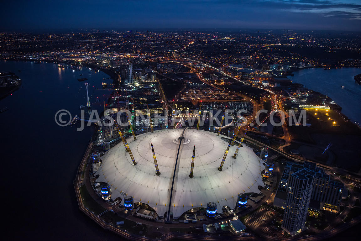 Night aerial view of the O2 Arena, Greenwich Peninsula, London