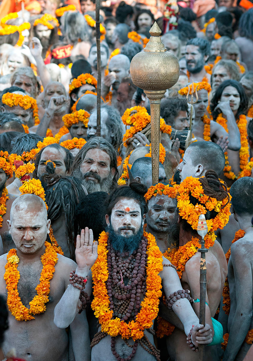 This portrait of a Naga sadhu (Saint) was taken during a procession at the Kumbh Mela, Allahabad
