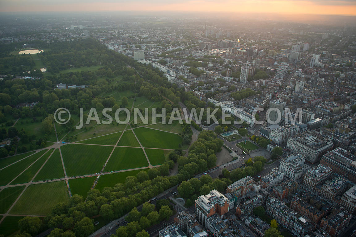 Aerial view of Hyde Park, City of Westminster, London