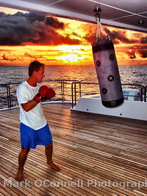 Boxing on Solemates at sunset