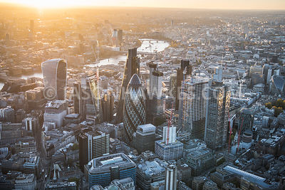City of London, dusk, aerial view