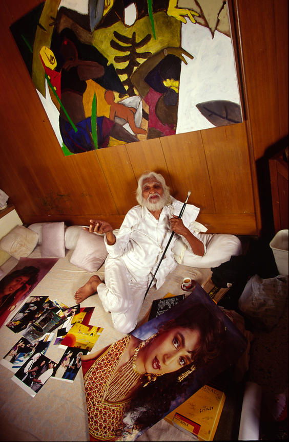 MF Husain, India's greatest modernist painter at his studio in Bombay