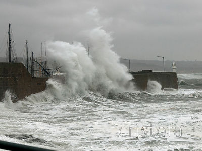 Penzance harbour during a storm