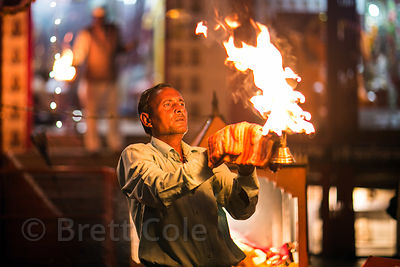 Aarti on the Ganges River during Diwali in Haridwar, India