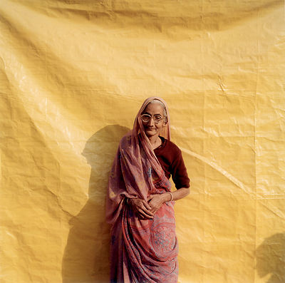 An elderly pilgrim at the Kumbh Mela