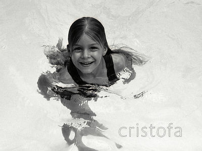 Freya in the pool in Kingston
