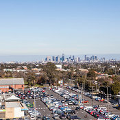 Low level aerial photo of Melbourne CBD taken from Brunswick.