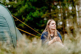 Girl camping in Denmark