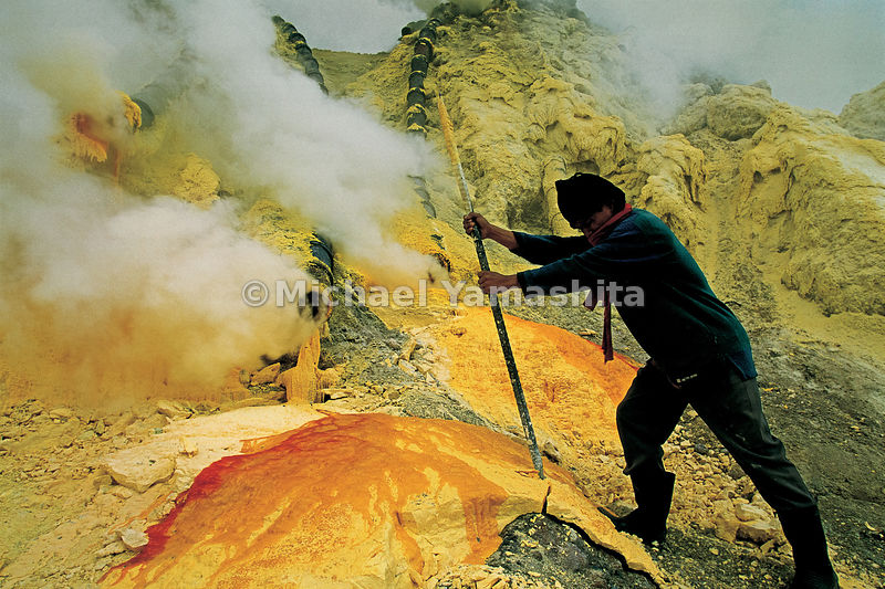 Sulphur miners at Ijen volcano face toxic gases and back-breaking loads that must be carried up steep quarry walls to distrib...