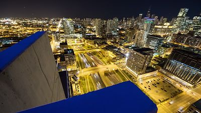 Bird's Eye: Foregrounded Neon Colors Above the Busy Kennedy Expressway at Night