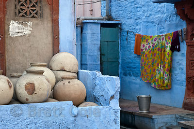 Ceramic jars and blue houses, Jodhpur, Rajasthan, India