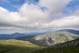 The summit of Grey Friar and Harter Fell in the English Lake District, UK.
