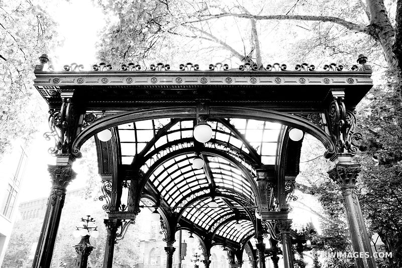 PERGOLA PIONEER SQUARE HISTORIC SEATTLE BLACK AND WHITE