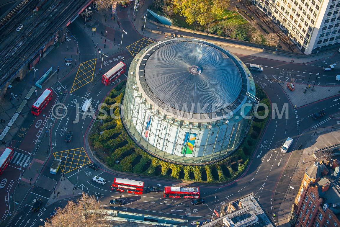 Aerial view of London, close up of BFI Southbank, roundabout.