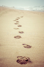Footprints in Sand Retro Picture