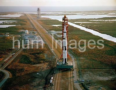 (3 Jan. 1969) --- Aerial view of the Apollo 9 (Spacecraft 104Lunar Module 3Saturn 504) space vehicle on the way from the Vehi...