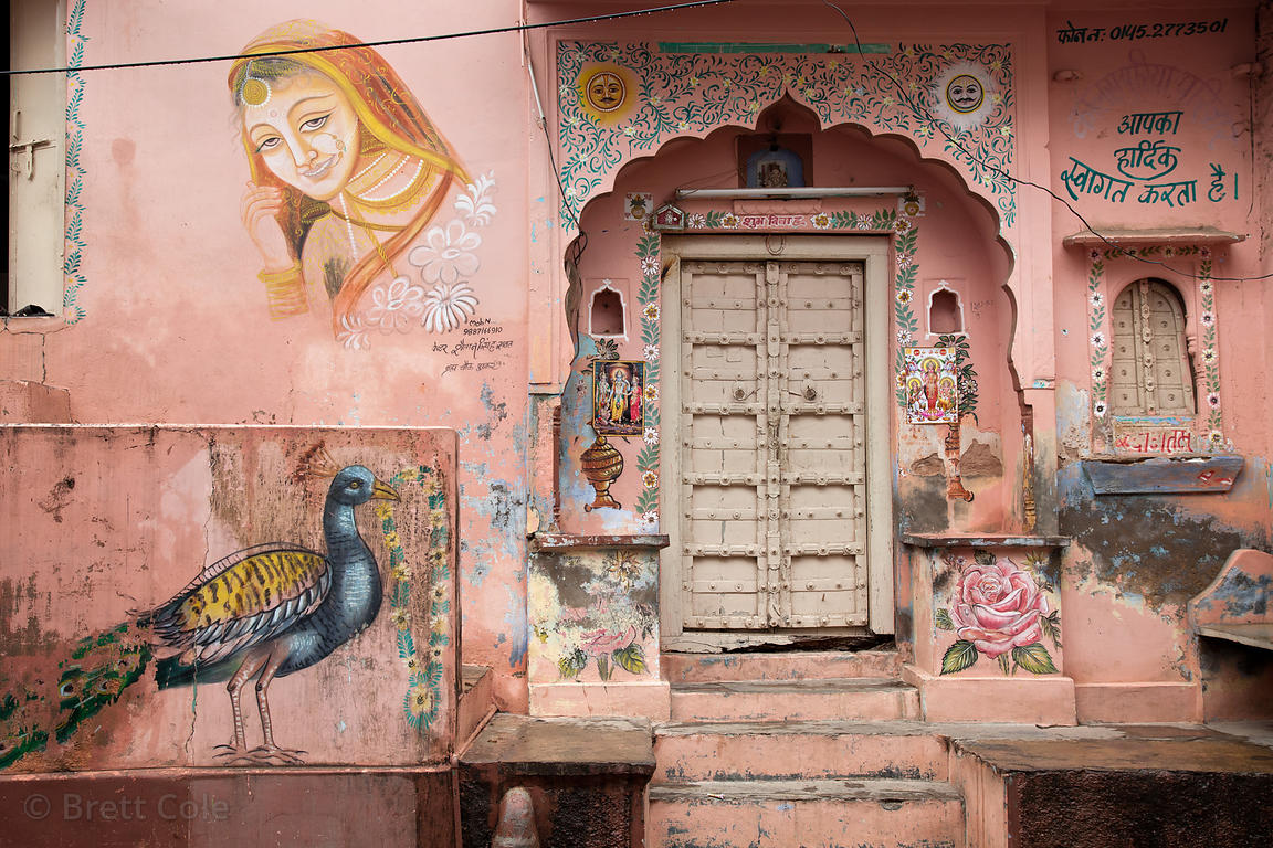 Ornately painted house in Pushkar, Rajasthan, India
