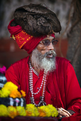 Baba with dreadlocks at the Brahma temple, Pushkar, Rajasthan, India