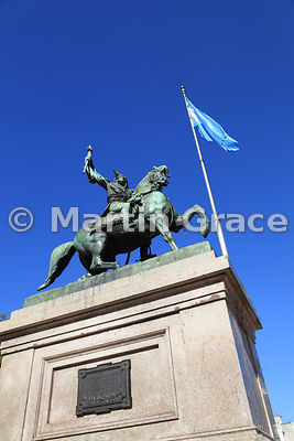 Statue of General San Martin, Plaza de Mayo, Buenos Aires, with Argentinian flag