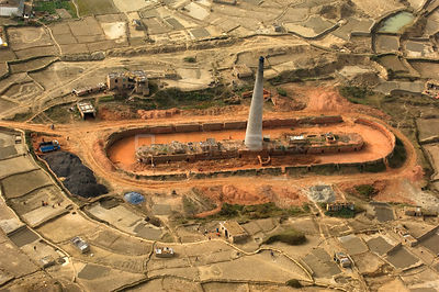 Aerial view of a brick factory, Himalayan foothills, Nepal, December 2007