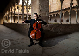 Cellist Ferran Albrich plays at Monastery of Sant Joan de les Abadesses (Monestir de Sant Joan de les Abadesses)