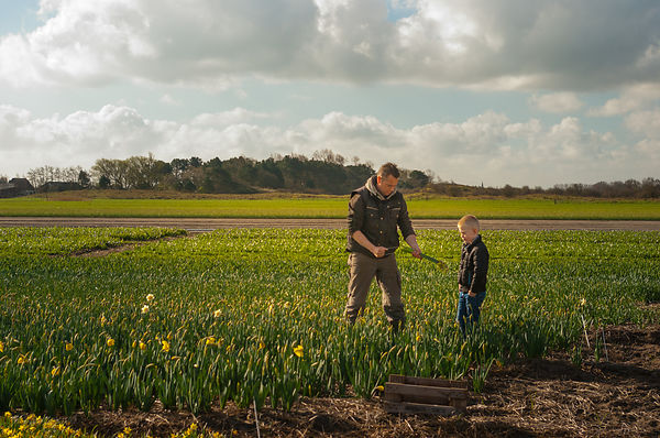 Father and son at work on the flower fields series 6of7
