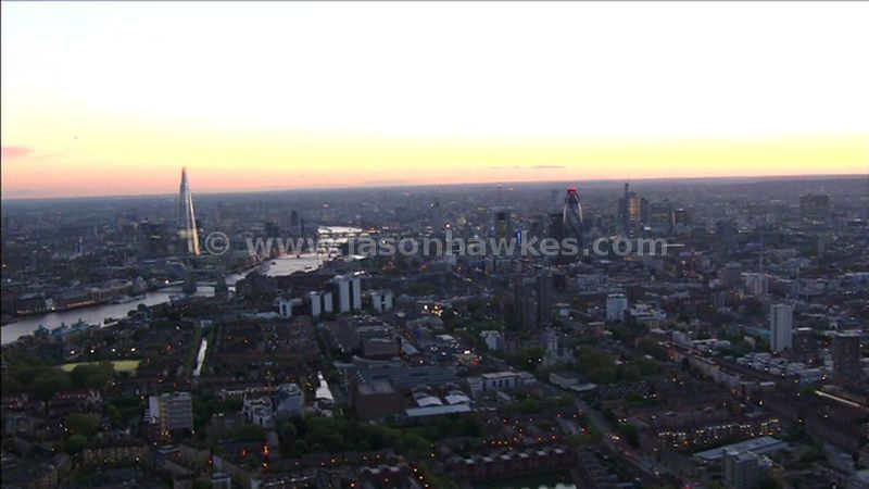 Aerial footage of the CIty of London, England, UK