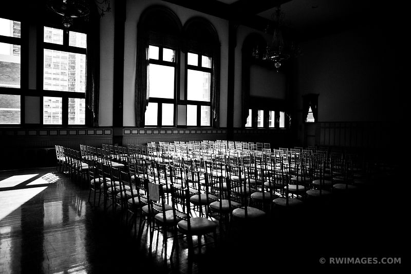 EMPTY CHAIRS GERMANIA PLACE CHICAGO BLACK AND WHITE