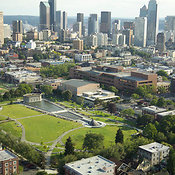 Cal Anderson Park, Capitol Hill Neighborhood, downtown skyline, Seattle, WA