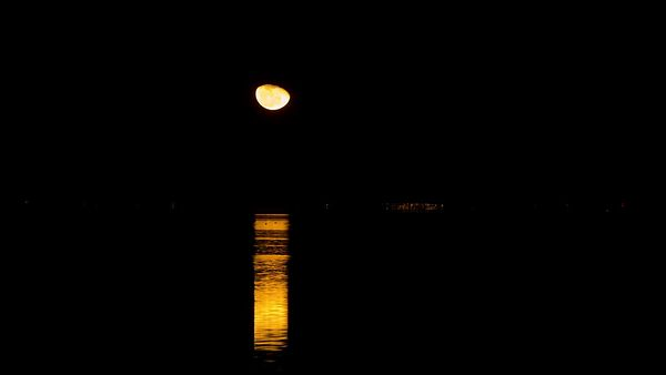 Medium Shot: Moonrise Over A Reflective Inky Blackness