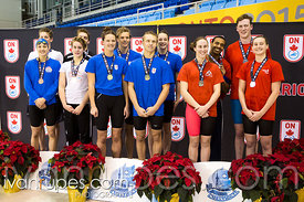 Mixed 18 & Under 200 SC Meter Freestyle Relay Podium, Ontario Junior International, Toronto Pan Am Sports Centre; December 6,...
