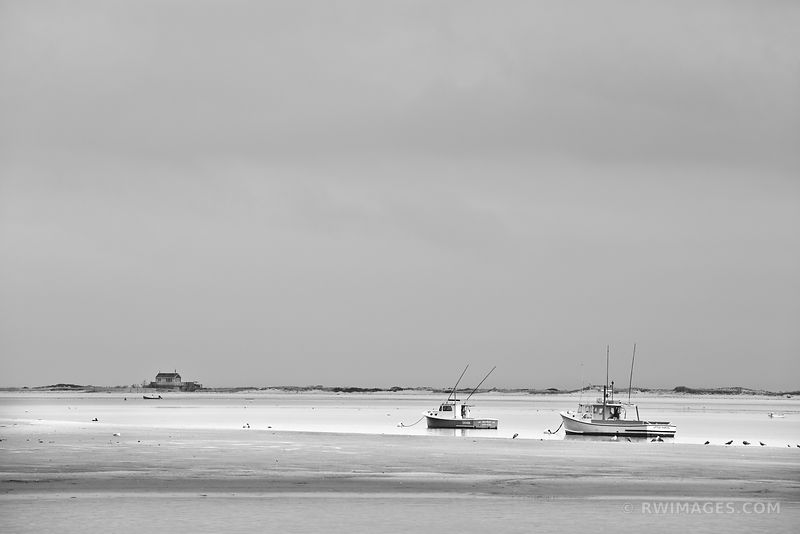 FISHING BOATS LOW TIDE CHATHAM HARBOR CAPE COD MASSACHUSETTS BLACK AND WHITE