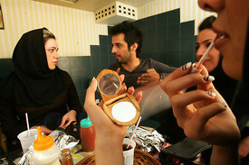 tehran young people meetin each other and dating in street and cafeshop
