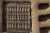 Traditionally carved Dogon window shutters, Sanga, Dogon Country, Mali