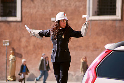 Directing traffic, Piazza Venezia.