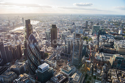 Aerial view of the Swiss Re Building and Heron Tower, City of London