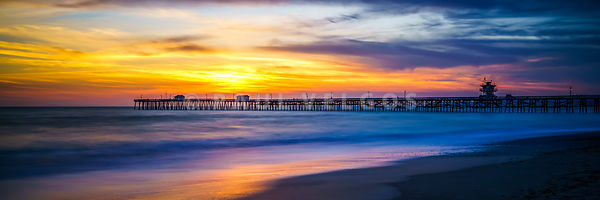 San Clemente Pier Sunset Panorama Photo