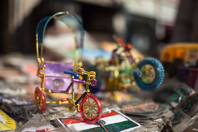 Small rickshaw model handmade from wire at a market in Paharganj, Delhi, India