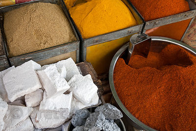 Spices and rock salt for sale at a market in Bharatpur, Rajasthan, India