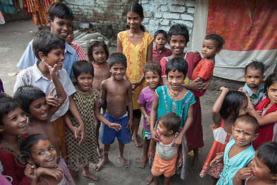 Children in a slum area in Taratala, Kolkata, India.